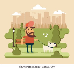 Flat Cartoon Character Walking with Dog in the Park. Big City Silhouette on the Background. Colorful Vector Illustration