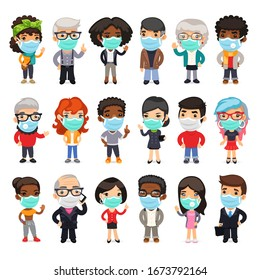 Flat cartoon characters collection of people wearing medical face masks to prevent viruses, disease, flu, gas. Isolated on white background. Clipping paths included.