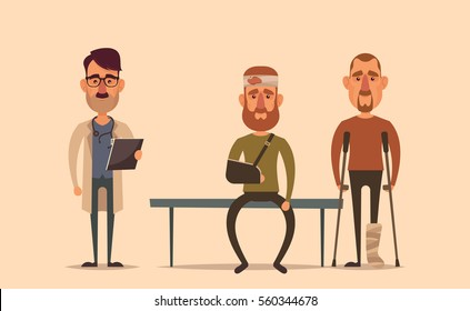 Flat Cartoon Characters. Doctor Standing Near the Queue of Patients. Vector Illustration