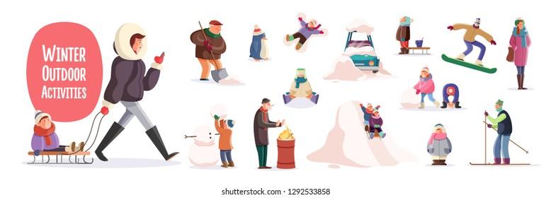 Flat cartoon characters performing winter outdoor activities