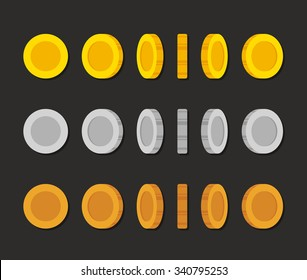 Flat cartoon coins rotation frames for web, game or app interface. Golden, silver and bronze. Modern vector game art illustration.