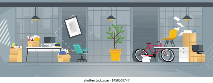 Flat Cartoon Coworking Office with Accessories in Boxes, Paper Documents Pile, Digital Equipment and Furniture. Relocation and Move to New Address, Changing Place Location. Vector Illustration
