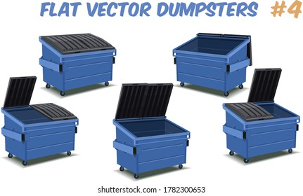 flat cartoon design of blue dumpster containers for plastic isolated on a transparent background, vector illustration