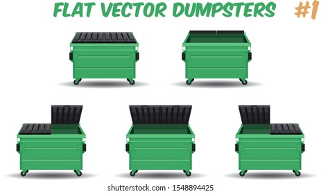 flat cartoon design of green dumpster containers isolated on a transparent background, vector illustration