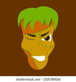 Flat Cartoon evil Frankenstein Head