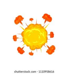 Flat cartoon explosion, vector illustration isolated on white background