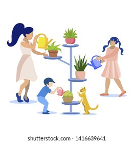Flat Cartoon Family Taking Care for Houseplants Together. Mother with Son and Daughter Watering Flowers in Pots. Kids Help Parent. Horticultural Sundry and Home Gardening. Vector Isolated Illustration