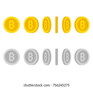 Flat cartoon gold and silver coins with Bitcoin symbol. Set of icons at different angles, spinning coin animation frames. Isolated vector illustration.