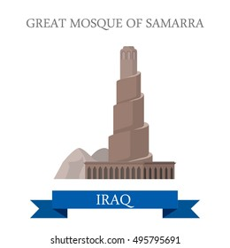 Flat cartoon Great Mosque of Samarra historic building web site vector illustration. Sightseeing of Iraq in Asia. Landmarks and World famous showplaces concept.