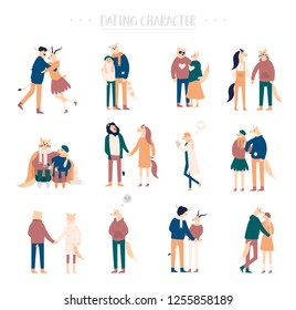 Flat cartoon happy romantic couples walking together on white background. Standing single lonely girl or pairs of men and women on date. Modern colorful vector