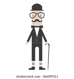 flat cartoon hipster character gentleman with stick vector illustration