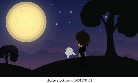 Flat Cartoon And His Robot look the Full Moon In Night So Sadly night.