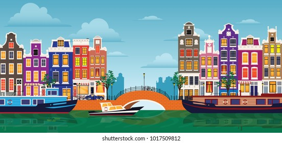 Flat cartoon multicolor colorful historic buildings city town Amsterdam panorama Holland. Vector illustration.