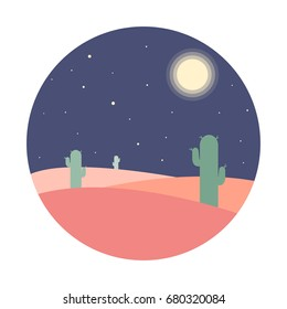 Flat cartoon night desert landscape with cactus silhouette in circle. Background vector illustration.