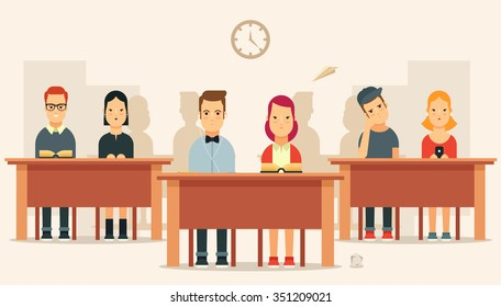 Flat Cartoon Pupils Sitting in a Classroom. Colorful Vector Illustration
