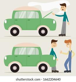 Flat cartoon scenes presents man with hurt car and auto mechanic. Car repair and service. Mechanic repairs car. Repair machines, equipment. Vector illustration.