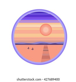 Flat cartoon seat sunset landscape  in circle. Background vector illustration.