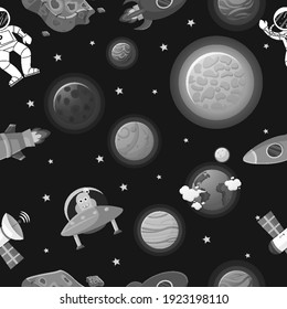 Flat cartoon style funny galaxy pattern. Astronaut with rocket and alien in the open space Cute design for kids fabric and wrapping paper. Galaxy pattern cartoon style.