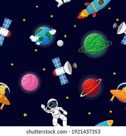 Flat cartoon style funny planet pattern. Astronaut with rocket and alien in the open space Cute design for kids fabric and wrapping paper. Planet pattern with constellations and stars.