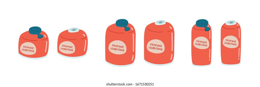 Flat cartoon style vector illustration of closed and opened isobutane propane canister for hiking, backpaking, picnics.