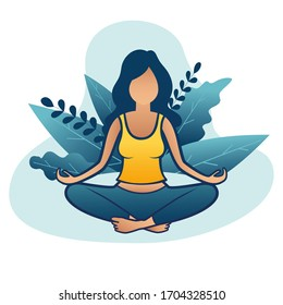 Flat cartoon style woman meditation or yoga in nature and leaves. Concept vector illustration healthy lifestyle.