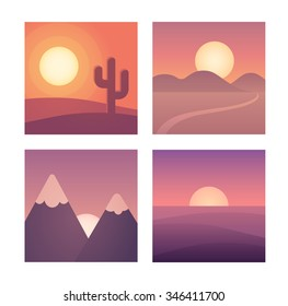 Flat cartoon sunset landscape set. Different locations: desert, mountains and sea. Background vector illustration collection.