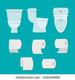 Flat cartoon toilet bowl icon. Vector illustration for world toilet day.