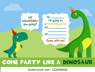 Flat Cartoon Vector Illustration With Dinosaur For Greeting Card Party Invitation T Rex