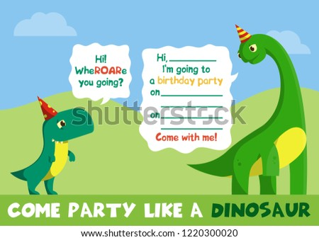 Party Invitation With T Rex And Brachiosaurus Cute Animal Character Line Art Little Tyrannosaurus Diplodocus