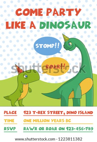 Flat Cartoon Vector Illustration With Dinosaur For Greeting Card Birthday Party Invitation T