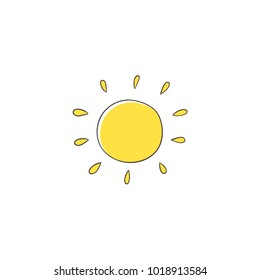 Flat cartoon vector illustration on sun imitating a kid, child drawing isolated on white background. Stylized, simple, naïve hand drawing of yellow sun