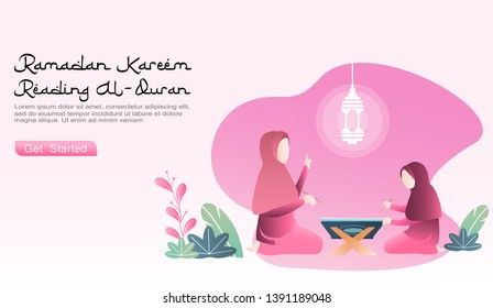 flat cartoon vector ramadhan kareem illustration. a parent (mother) teaches her daughter to learn read the Koran. with  Ramadhan lamp\u002Flantern icon, there are 2 sets of plants. suitable for website, UI