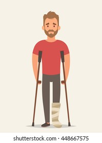 Flat Character with Broken Leg. Vector Illustration