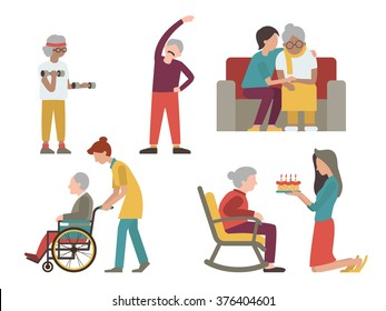 Flat character design of elderly man and woman with health care from volunteer and young people.
