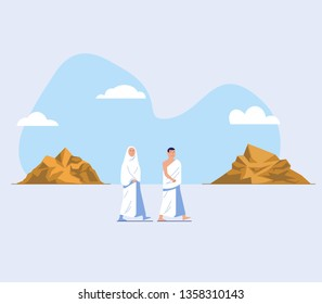 Flat character of hajj pilgrimage  walk  between the hills of Safa and Marwah. One of Islam's sacred pilgrimage step. Suitable for info graphic.