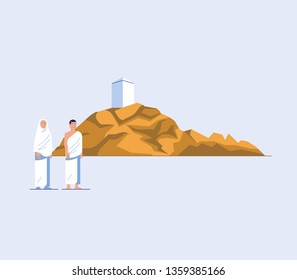 Flat character of hajj pilgrims at mount Arafat. One of Islam's sacred pilgrimage route. Suitable for info graphic.