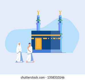 Flat character of muslim pilgrims walk around  Kaaba for seven times. Suitable for info graphic.