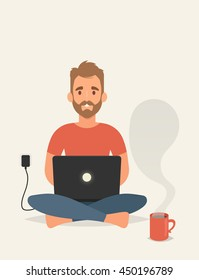 Flat Character Sitting and Working with Laptop. Vector Illustration