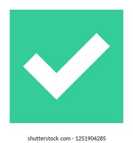 Flat check mark icon addition square sign choice button. Quick and easy recolorable shape isolated from background. Vector illustration a graphic element for web internet design.