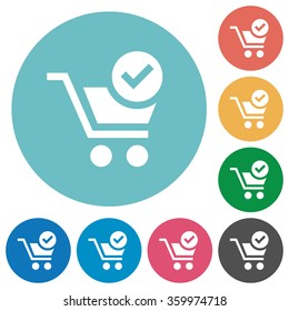 Flat checkout icon set on round color background.