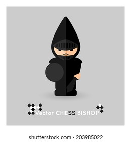 Flat chess black bishop on a grey background. Vector concept