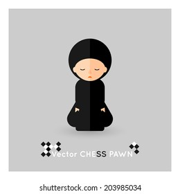 Flat chess black pawn on a grey background. Vector concept