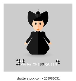 Flat chess black queen on a grey background. Vector concept