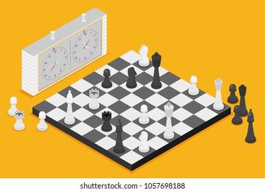 Flat chess isometric. game isometric series