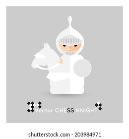 Flat chess white knight on a grey background. Vector concept