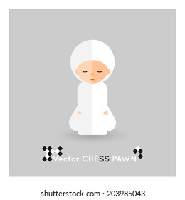 Flat chess white pawn on a grey background. Vector concept