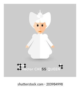Flat chess white queen on a grey background. Vector concept