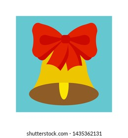 Flat Christmas bell icon. Christmas and winter theme. Vector illustration.