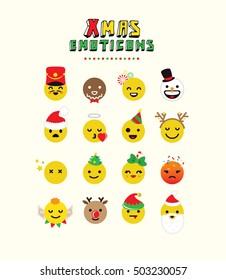 Flat Christmas Emoticon set on dark background