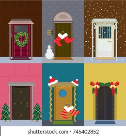 Flat Christmas entrance doors set with floral wreath gift socks snowman fir trees snow hats jingle bells isolated vector illustration